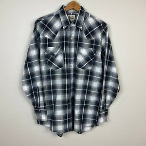 Vintage Ely Cattleman M Pearl Snap Shirt Plaid